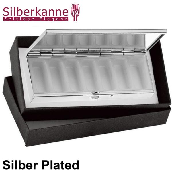Pillendose 7 Tage Frankfurt 10x3 5x1 5 Cm Silber Plated Versilbert