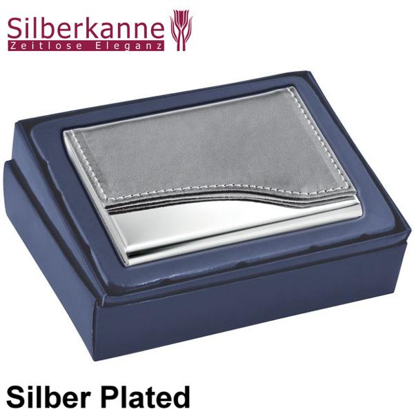 Visitenkartenetui Mit Leder Grau 9x6x1 Cm Silber Plated Versilbert
